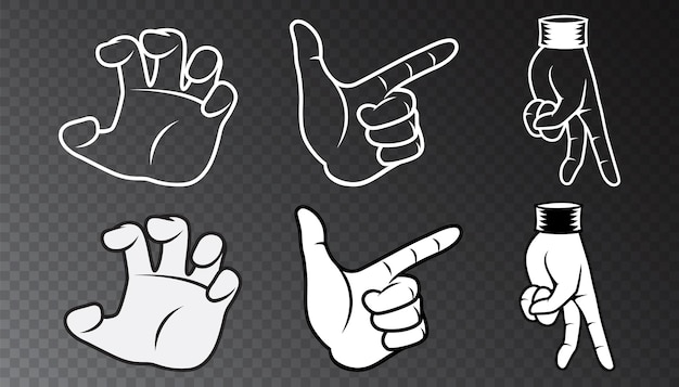 Черно-белая рука векторные иллюстрации набор