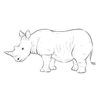 손으로 그리는 또는 스케치 스타일의 흑백 뿔 코뿔소