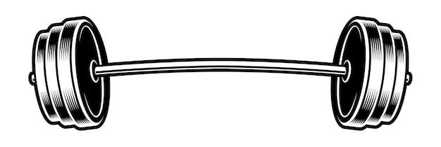 白い背景の上のバーベルの黒と白のイラスト。