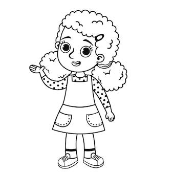 Черно-белые иллюстрации милой девушки векторные иллюстрации