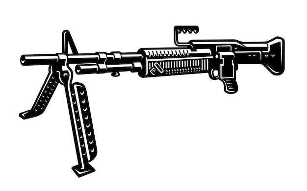 Черно-белая иллюстрация пулемета, изолированного на белом