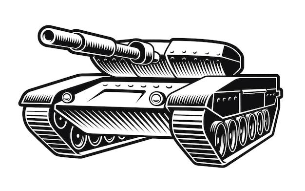 Черно-белая иллюстрация танка, изолированного на белом