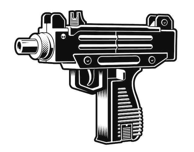Черно-белая иллюстрация израильского автоматического пистолета