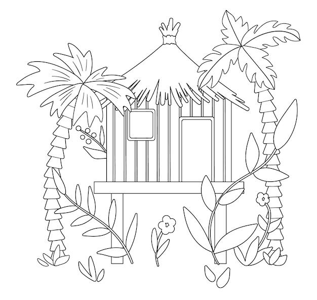 ヤシの木と葉を持つジャングルフートの黒と白のイラスト。高床式の熱帯バンガローのスケッチ。熱帯雨林のかわいい面白いエキゾチックな家。子供のための楽しいぬりえ