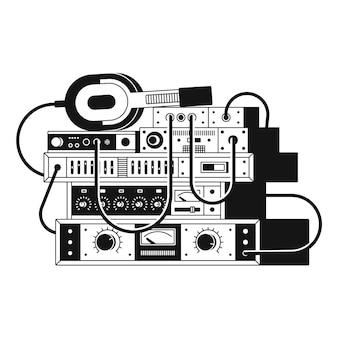 音楽アンプとヘッドフォンの白黒イラスト。白色の背景。