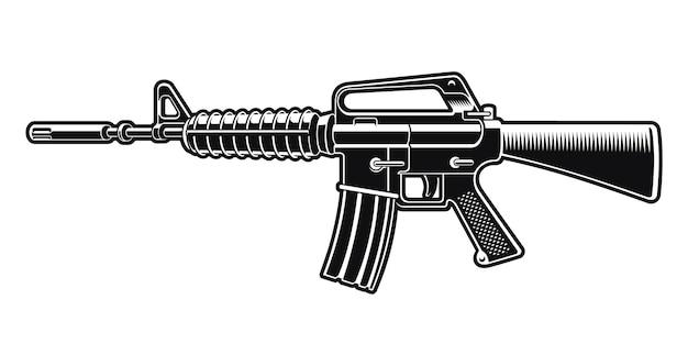 Черно-белые иллюстрации винтовки m16, изолированные на белом