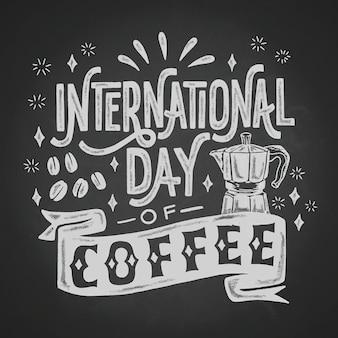 Черно-белый международный день кофе надписи
