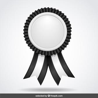 리본으로 검은 색과 흰색 라벨