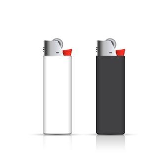 白で隔離される黒と白のライター。コーポレートアイデンティティのために。広告テンプレート。