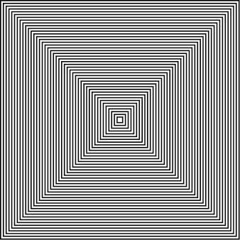 黒と白の線は正方形のオプティカルアートを抽象化します