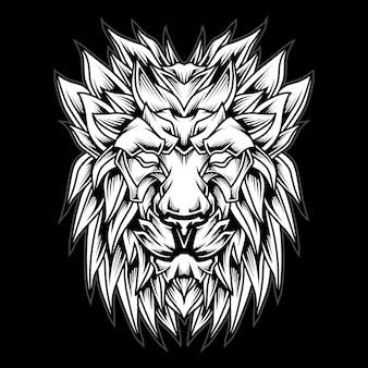 Черно-белая иллюстрация логотипа головы льва