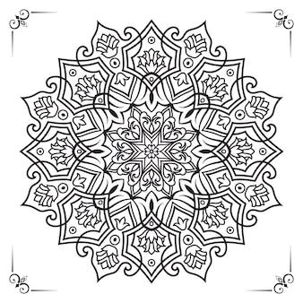 결혼식 초대를 위한 손으로 그린 스타일 장식의 흑백 고급 꽃 만다라 배경