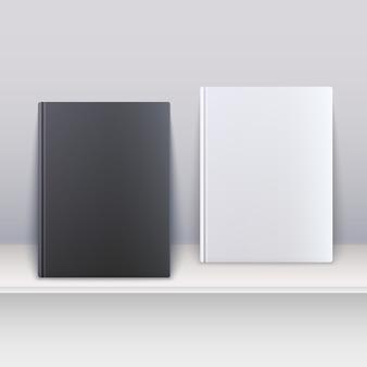 棚の上に立っている黒と白の雑誌。