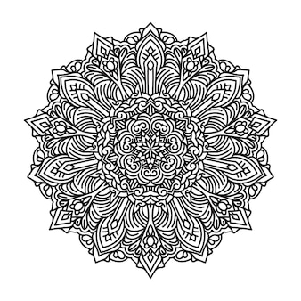 ラインアートスタイルの背景の黒と白の曼荼羅デザイン