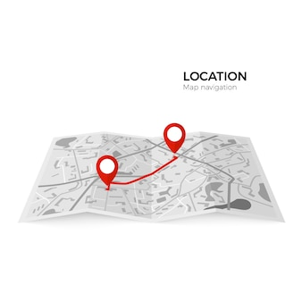 경로의 시작 지점과 최종 지점의 빨간색 포인터가있는 흑백지도. 지점 간 경로를 확인하는 gps 네비게이터 빨간색 핀. 흰색 배경에 그림