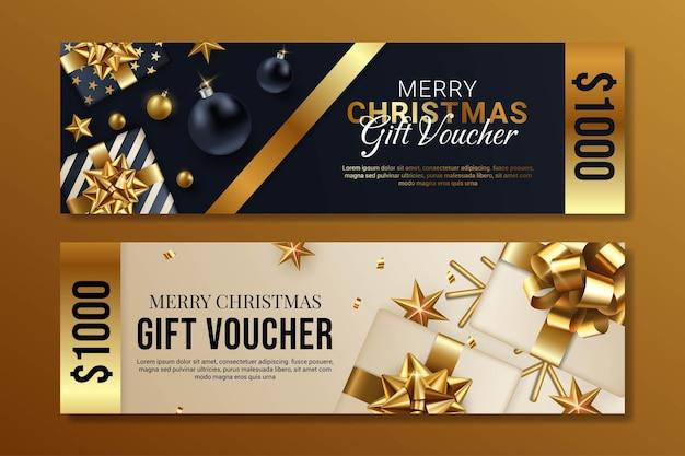 Черно-белый с рождеством христовым подарочный сертификат дизайн иллюстрации