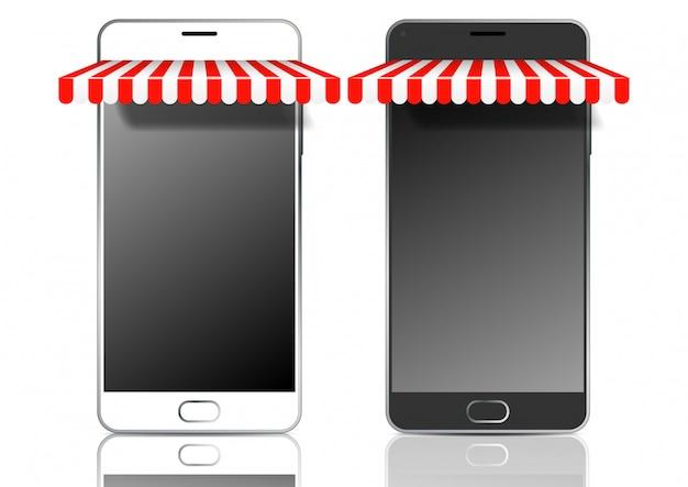 日よけ付きの黒と白のモバイルスマートフォン
