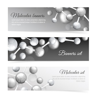 Черно-белые молекулы баннер набор шаблонов