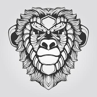 Черно-белая обезьяна линии искусства