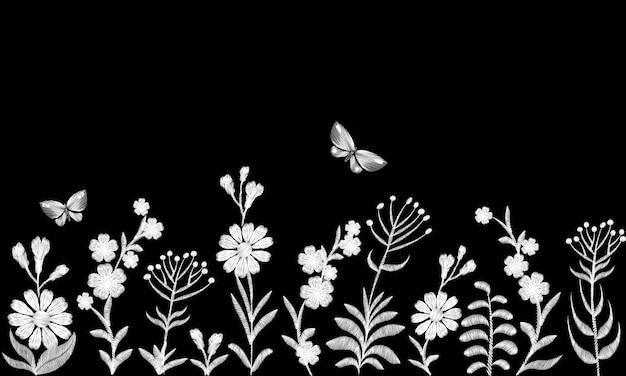 白黒のモノクロ畑の花の刺繍。