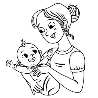 Черно-белая мать и ее ребенок день матери материнство