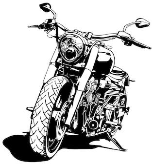 흑백 오토바이 그리기 흰색 배경에 고립