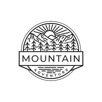 Черно-белый шаблон логотипа горы