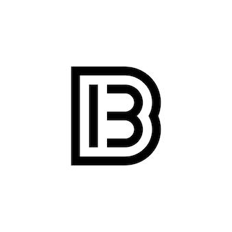 黒と白の番号13と文字b、ウェブサイト、インフォグラフィック、パンフレット、表紙、お祝いイベント、招待状、挨拶、ウェブテンプレート用のibベクトルアイコンデザイン。