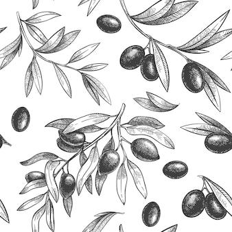 黒と白のオリーブのシームレスなパターン