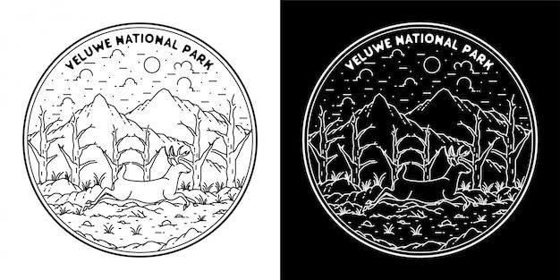 흑인과 백인 야외 모노 라인 배지 디자인