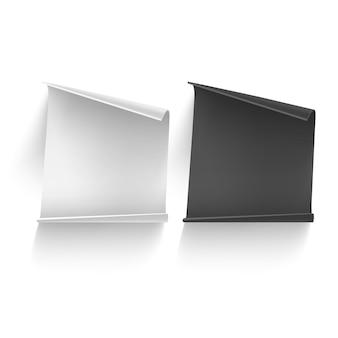 黒と白の紙シートテンプレート。白で隔離。