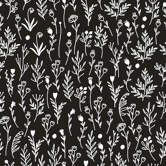 Черно-белый узор с цветами