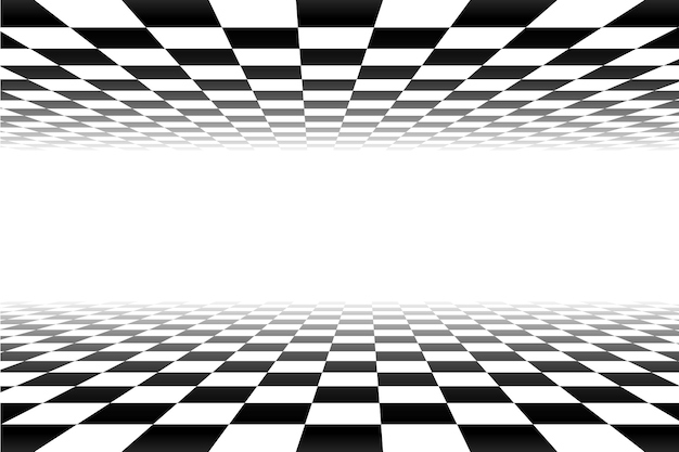 Черно-белая перспектива клетчатый фон