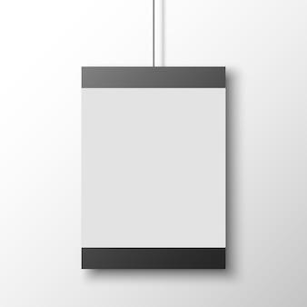 白い壁に黒と白のポスター。バナー。図。