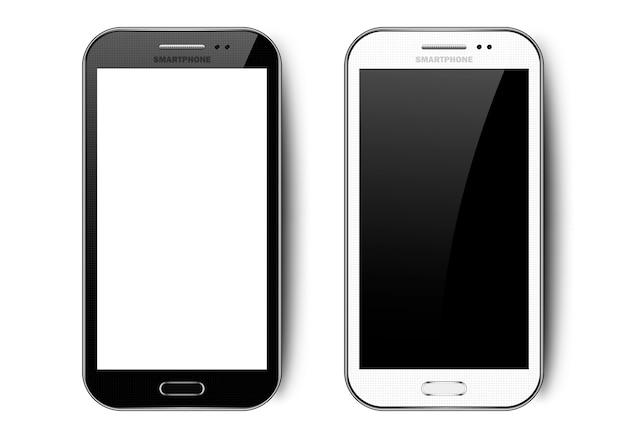 影、カメラ、ボタン、まぶしさ、空白の画面を持つ携帯電話のモックアップと黒と白の現実的なスマートフォン
