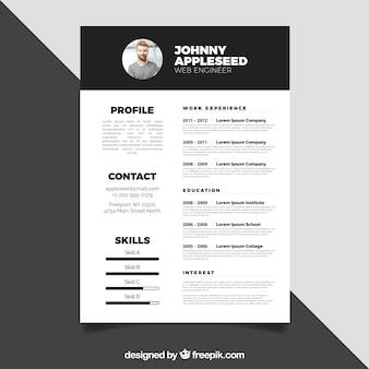 Black and white resume design