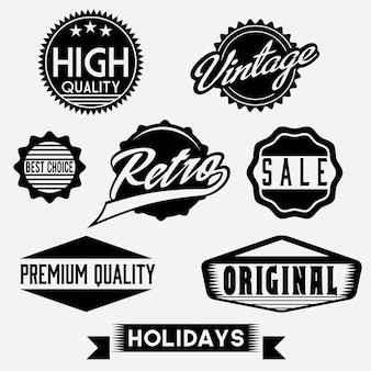Черно-белые ретро марки и значки