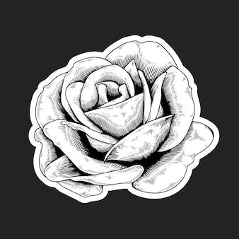 Черно-белая роза наклейка с белой рамкой вектор