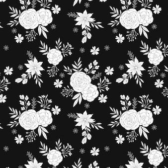 黒と白のバラのパターン