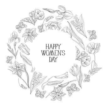 花のベクトル図で飾られた女性の日のテキストの周りに多くのオブジェクトが付いた黒と白の丸いフレームスケッチ構成グリーティングカード。