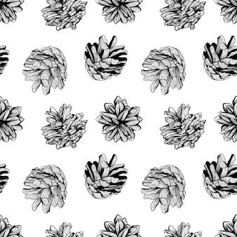 黒と白のシームレスな自然なパターンの背景デザインと松ぼっくりベクトルイラスト