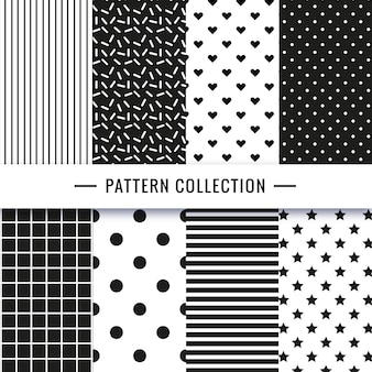 Black and white seamless pattern collection