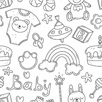 子供の誕生をテーマにしたかわいい落書き要素と黒と白のシームレスなパターン