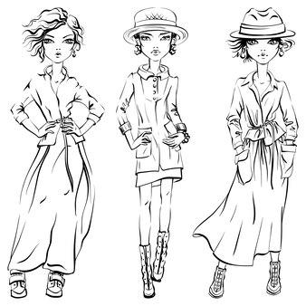 ジャケット、コート、スカート、帽子、ブーツのかわいい美しい女の子の黒と白のセット