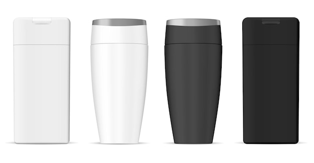 黒と白のシャンプーボトル化粧品ブランク。