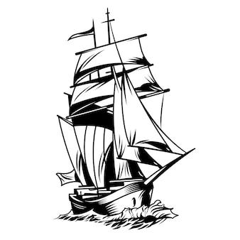 黒と白の船
