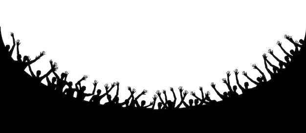 幸せで楽しい人をジャンプする黒と白のシルエット。ベクトルイラスト