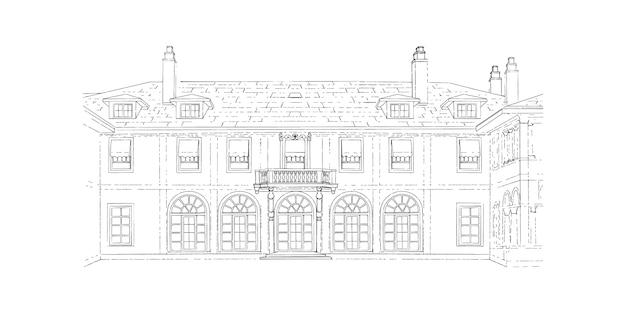 黒と白のスケッチ、結婚式場、建築。