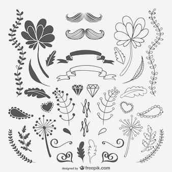 黒と白のスケッチ装飾品や花