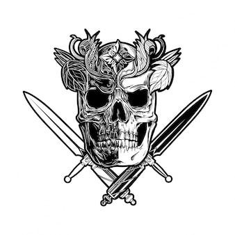 Черно-белый череп и ножи
